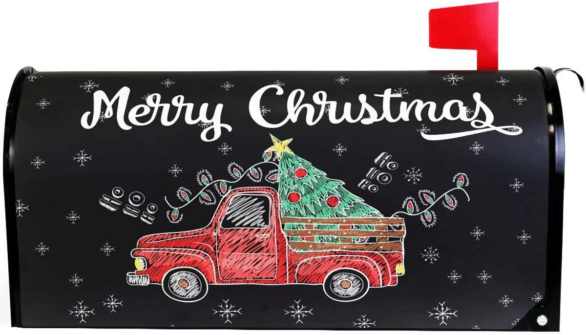 "Wamika Merry Christmas Tree Snowflake Red Truck Mailbox Cover Magnetic Standard Size,Winter Santa Claus Letter Post Box Cover Wrap Decoration Welcome Home Garden Outdoor 21"" Lx 18"" W"