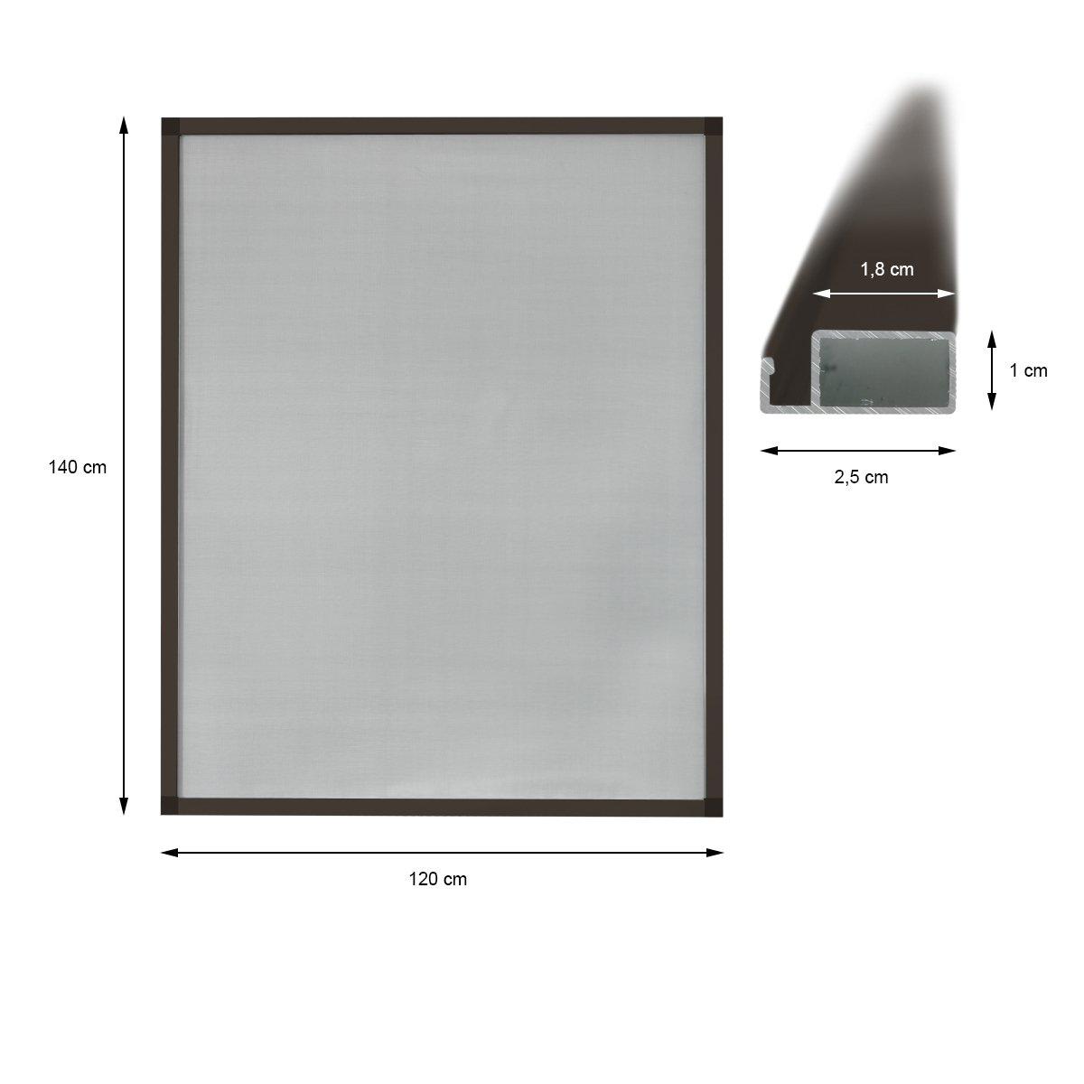 ECD Germany 5-er Pack Fliegengitter mit mit mit Rahmen aus Aluminium - wetterfestes Moskitonetz aus Fiberglasgewebe für Fenster - 120x140 - weiß Anthrazit B01J7Z2SXA Seitenzug- & Springrollos 2255bf