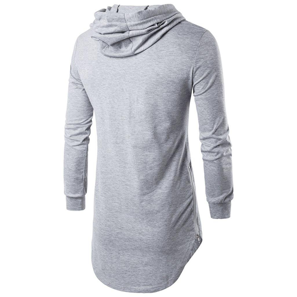 Shybuy Mens Fasihon Hipster Hip Hop Long Sleeve Longline Pullover Hoodies Shirts Casual Solid T-Shirt