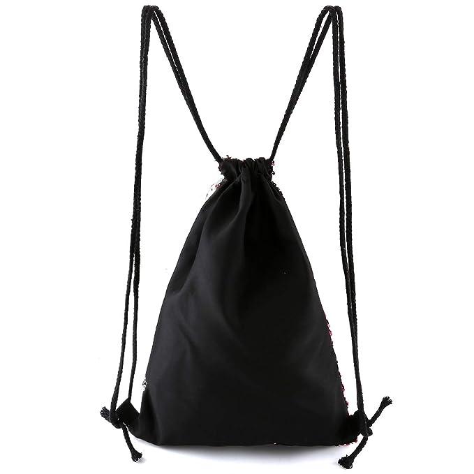 de616201e713 Ayliss Sequin Cinch Sack Drawstring Backpack Reversible Glitter Paillette  String Bag for Women/Men/Girls (Rose&Silvery)