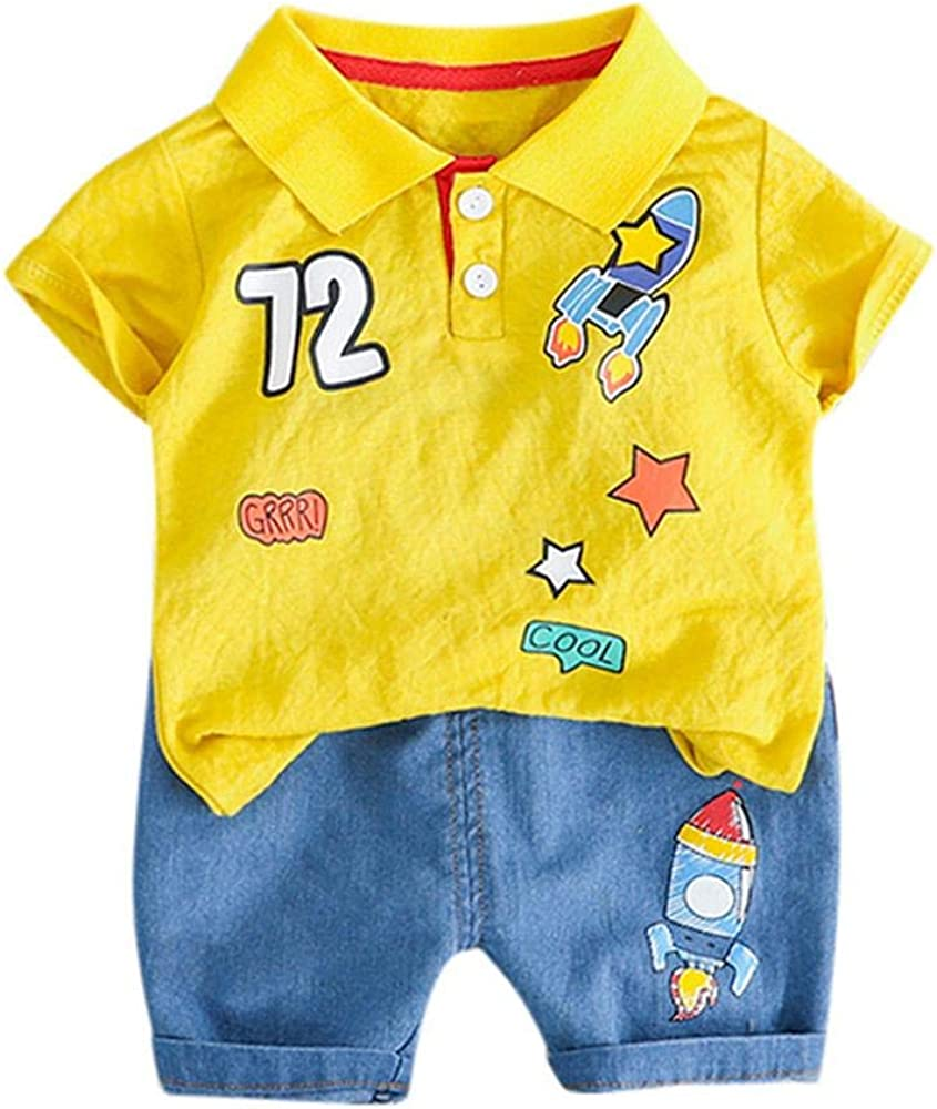 Zerototens kids clothes set for Baby Boys Short Sleeve Rocket Printed Polo T-Shirt Short Denim Pants Children Casual Outfit Set 0-24 Months