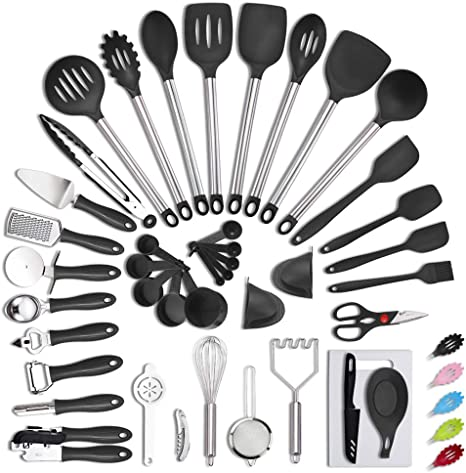 Amazon Com Veica Kithcen Utensil Set 42 Cooking Utensils Nylon And Stainless Steel Kitchen Tool Baking Spatula Gadgets Tools Accessories Black Dining