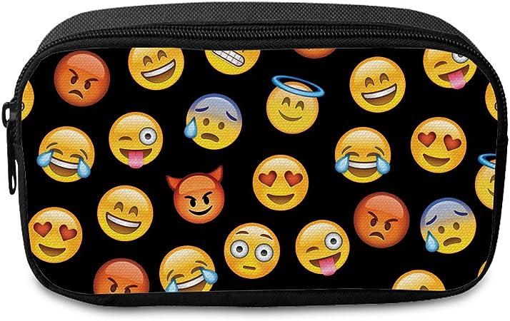 Fringoo® - Estuche de tela para lápices o neceser de maquillaje, con cierre de cremallera, diseño Unisex, color Emoji Black - Front Large: Amazon.es: Oficina y papelería