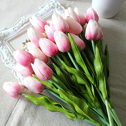 Tulip Pink 10 Pcs SOLEDI PU Real-touch Artificial Flowers for Bridal Bouquet Wedding Living Room Table Home Garden Decoration