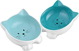 Navaris Cat Bowls with Ears - 2 Pack of Ceramic Cat Feeding Dishes with Anti Slip Silicone Feet - Cat Shaped Food and Water Bowls Set