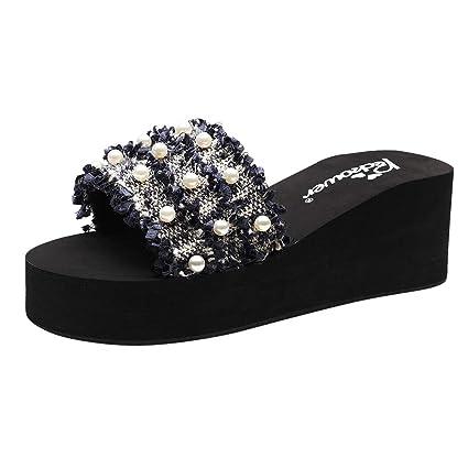 80d7bdedff44 Women Girls Fashion Summer Wedges Bohemian Style Sandals Slippers Beach  Shoes Slipper