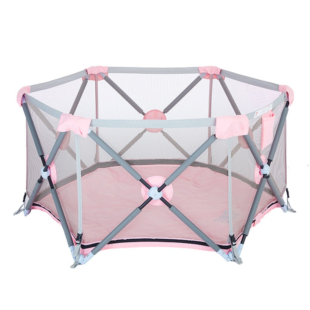 playpens for babies Play Yard Children's play fence infant fence indoor baby toddler fence home foldable (Color : Pink, Size : 140*68cm)