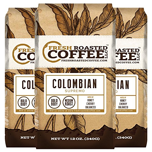 100% Colombian Supremo Coffee, 12 oz. Whole Bean Bags, Fresh Roasted Coffee LLC. (3 Pack) ()