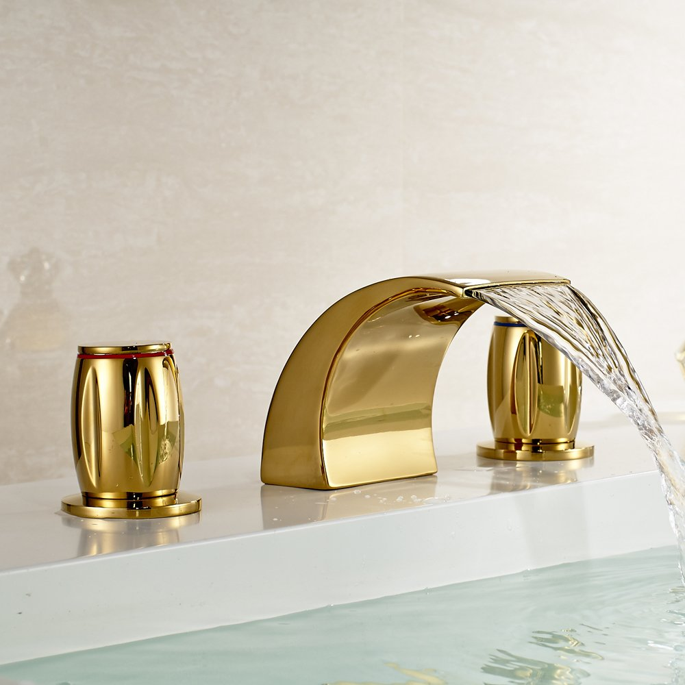 Gold Brass Waterfall Bathroom Sink Faucet Double Knobs Widespread ...