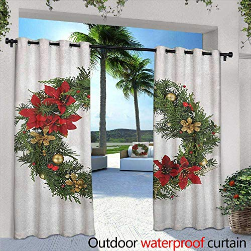 LOVEEO Christmas Outdoor Curtains Floral Wreath Cultural Design Poinsettia Blossoms Holly Pine Cone Branches Embossed Thermal Weaved Blackout 108