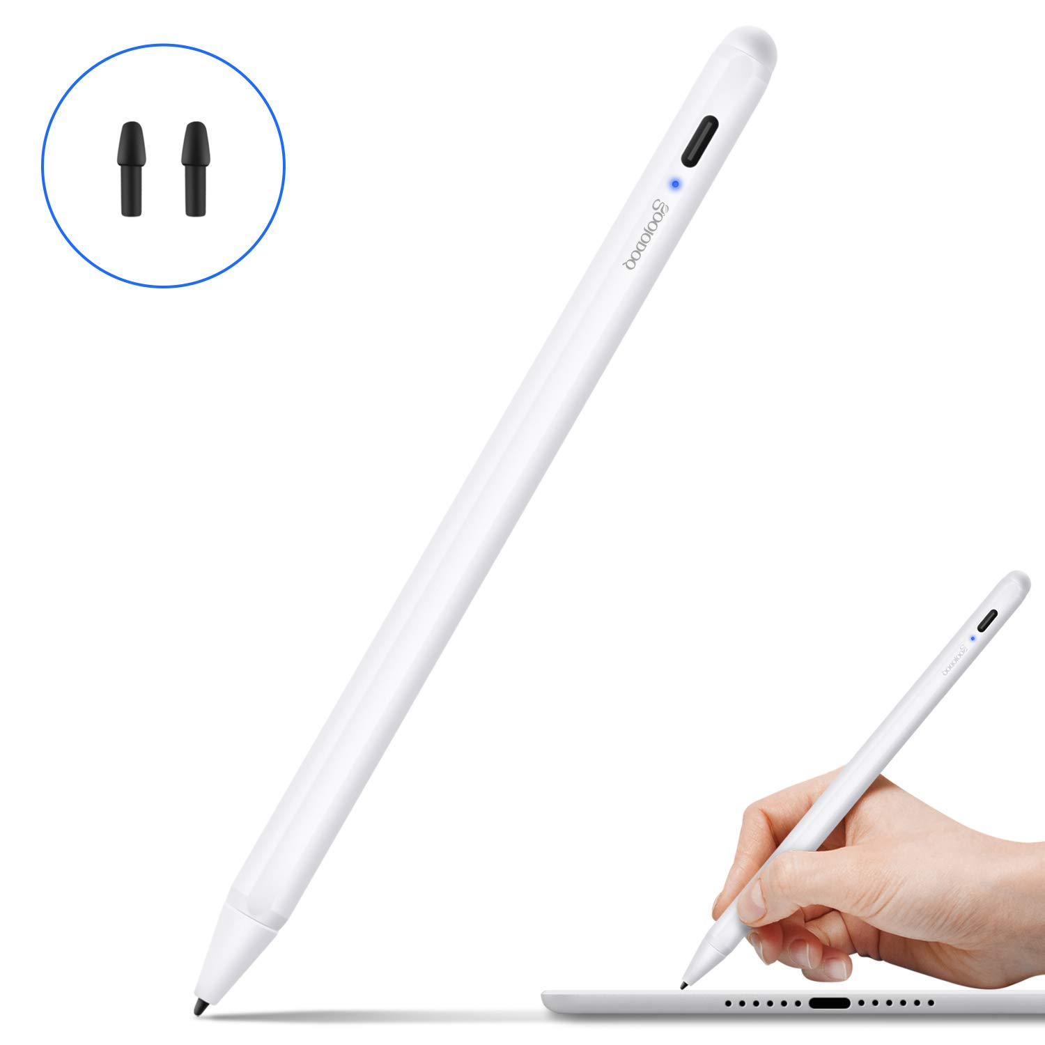 Goojodoq Stylus Pen for iPad 2018(6th Gen), Active Stylus Digital Pen 2nd Gen with Palm Rejection for iPad Air (3rd Gen), iPad Mini (5th Gen),iPad Pro (11 inch and 12.9 inch) by GOOJODOQ