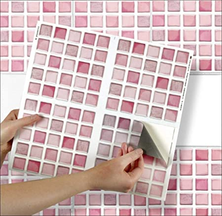 pink mosaic sheet of 4 transfer tile stickers for 6 x 6 15cm x