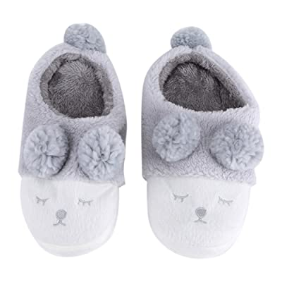 Yosoo Winter Warm Short Plush Indoor Slippers Cute Cartoon Sheep Lamb Soft Indoor Home Wear Slippers House Shoes Soft Sole Women Indoor Shoe Couples House Slipper(36-37 EU/ 6-6.5 US-Gray): Home & Kitchen