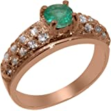 Solid 14k Rose Gold Natural Emerald & Cubic Zirconia Womens Band Ring - Sizes 4 to 12 Available