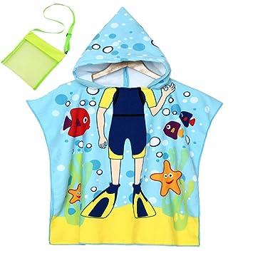 Toalla de playa,Niños Bebé Encapuchado Toalla de baño Sirena de dibujos animados, Tiburón