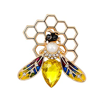 dfc76d56916 Amazon.com: Dwcly Fashion Yellow Enamel Bumble Bee with Honeyhive ...