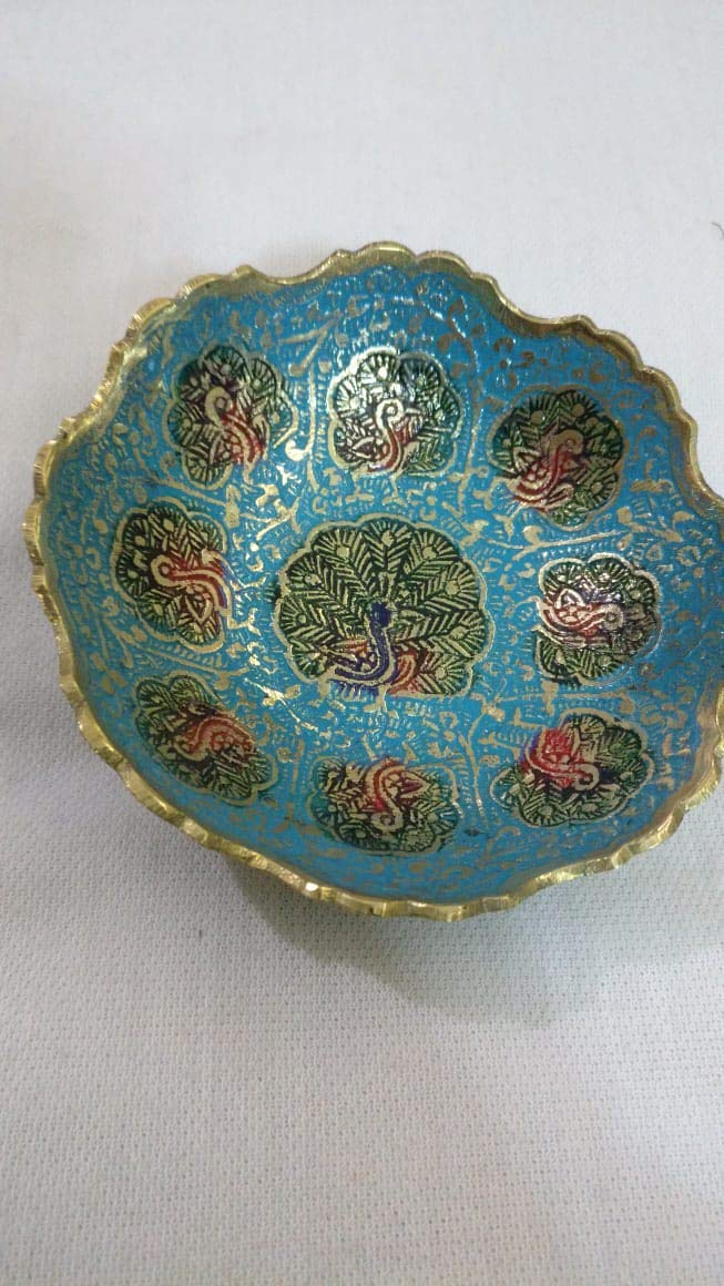 Peacock enamel Ring Dish, Jewelry Bowl, Incense Bowl, Candle Holder, Handmade brass, 4 Dia. color Bowl, Enameled etched golden trinket Bowl, Candle Holder, Desk Tidy, Trinket Dish, Ring Dish 4 Dia. color Bowl