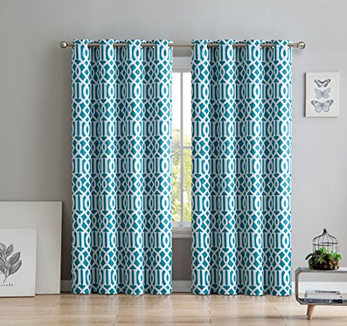 HLC.ME Trellis Printed Blackout Room Darkening Thermal Grommet Window Curtain Drape Panels for Bedroom - Set of 2 - Teal Blue - 96
