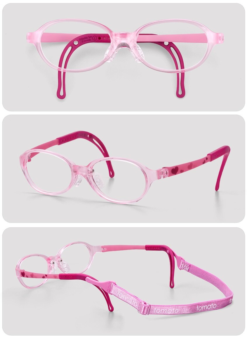 Eyeglass Frames for Kids, TKAC14-40, Pink Color, Light Weight, Comfortable Material, Highly Durable, Flexible, with Adjustable Nose Pad & Ear Tip, Shape intelligence and Resilience