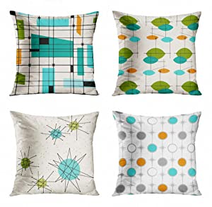 ArtSocket Set of 4 Throw Pillow Covers Teal Mid Retro Grid and Starbursts Orange Century Modern Atomic Mobile Pattern Decorative Pillow Cases Home Decor Square 18x18 Inches Pillowcases