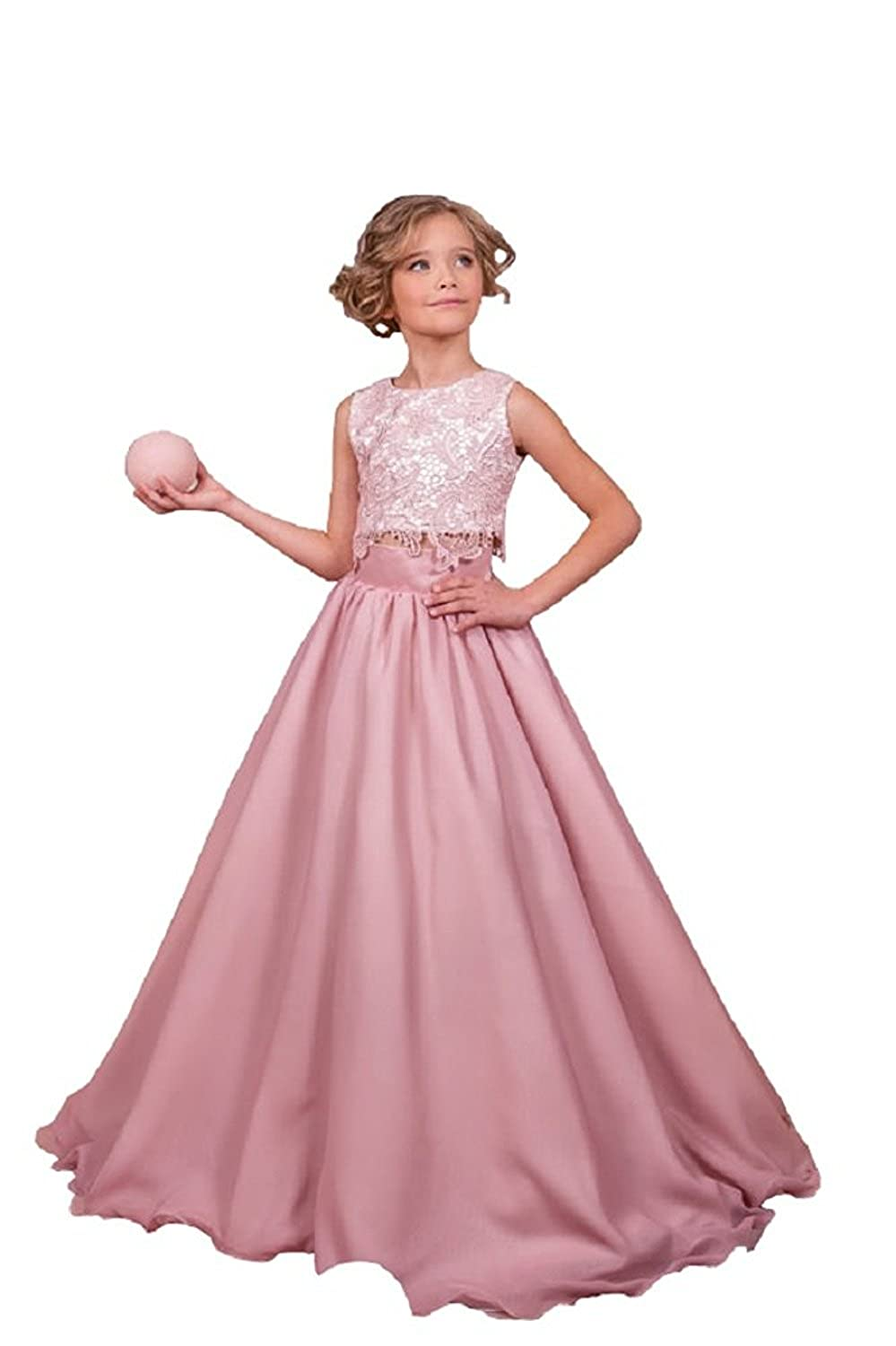 Amazon.com: yeoyaw Pink Two Pieces Lace Satin Flower Girl Dress ...