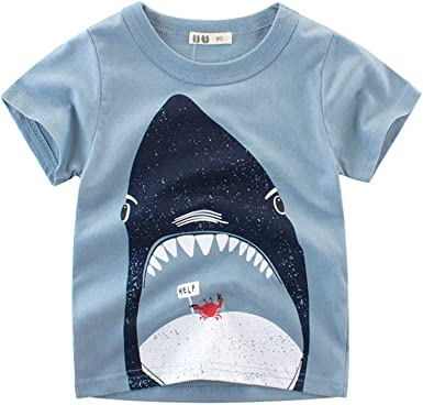 PinkLu ✿ Primavera Verano Tiburón Animados O-Cuello Niño Manga Corta niño Azul Ropa Cómodo Moda: Amazon.es: Ropa y accesorios