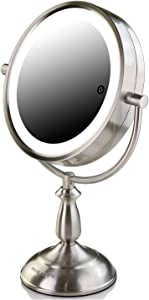 Ovente Lighted Tabletop Vanity Mirror 7.5 Inch 1X 5X Magnification Smart Touch 3 Tone LED Lit 360 Degree Double Sided Battery AC Adapter Operated Desk Bathroom Circle Large Nickel Brushed MPT75BR1X5X