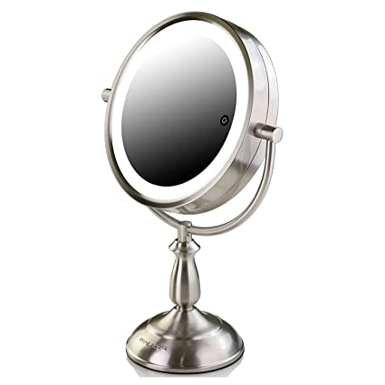 Amazon.com : Ovente 7.5 Inch 1X Lighted Table Top Vanity Makeup Mirror, 7X Magnification 3 Tones LED Lights, Cosmetics Beauty Double Sided Desk Mirror Powered by Battery or AC Adapter, Nickel Brushed MPT75BR1X7X : Beauty