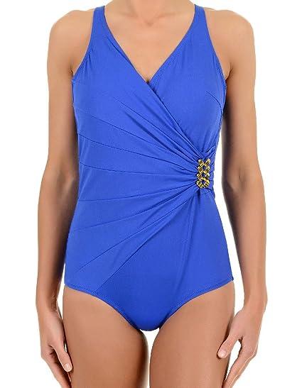 64ff20134d David Solid Oceana Blue One Piece Plunge Swimsuit 6520-DU 16 UK  David   Amazon.co.uk  Clothing