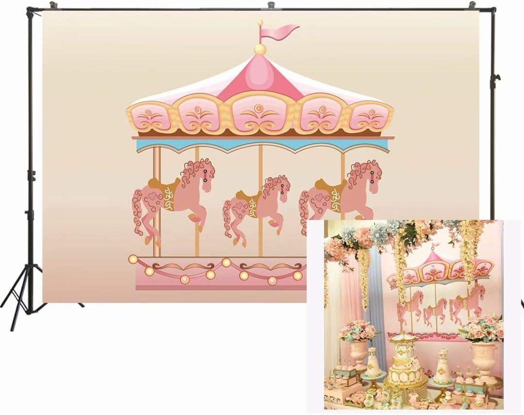 GoHeBe 5x7ft Carousel Backdrop Lantern Cloud Carousel Childrens Party Photography Backdrop Photo Studio Photography Background Props Party Photo Photography Props LYNAN462