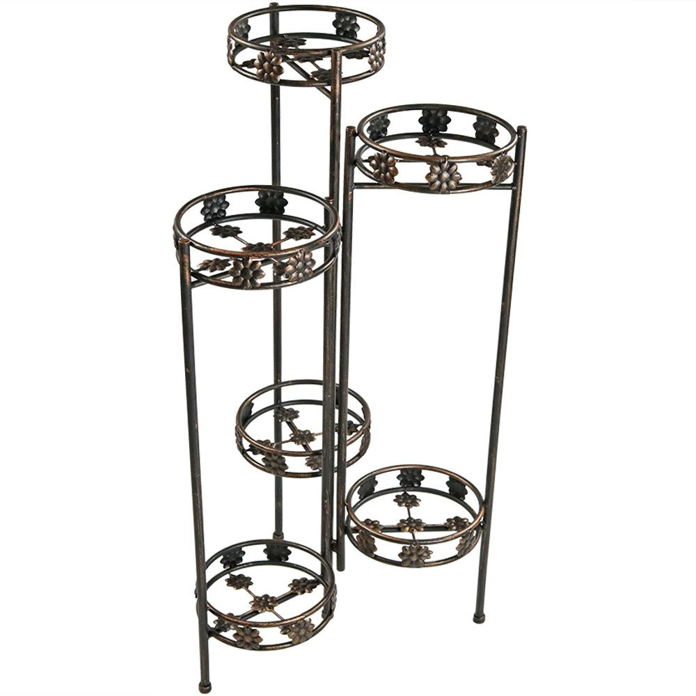 Sunnydaze 6-Tiered Folding Metal Plant Stand, Sturdy Indoor/Outdoor Flower Pot Holder, 45 Inch Tall