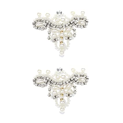6fe26f52c84b Pair Stunning Pearl Rhinestone Embelishment DIY Wedding Dress Shoe Clips  White  Amazon.ca  Home   Kitchen