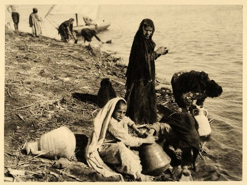 1929-egypt-et-till-nile-river-egyptian-women-water-pots-original-photogravure