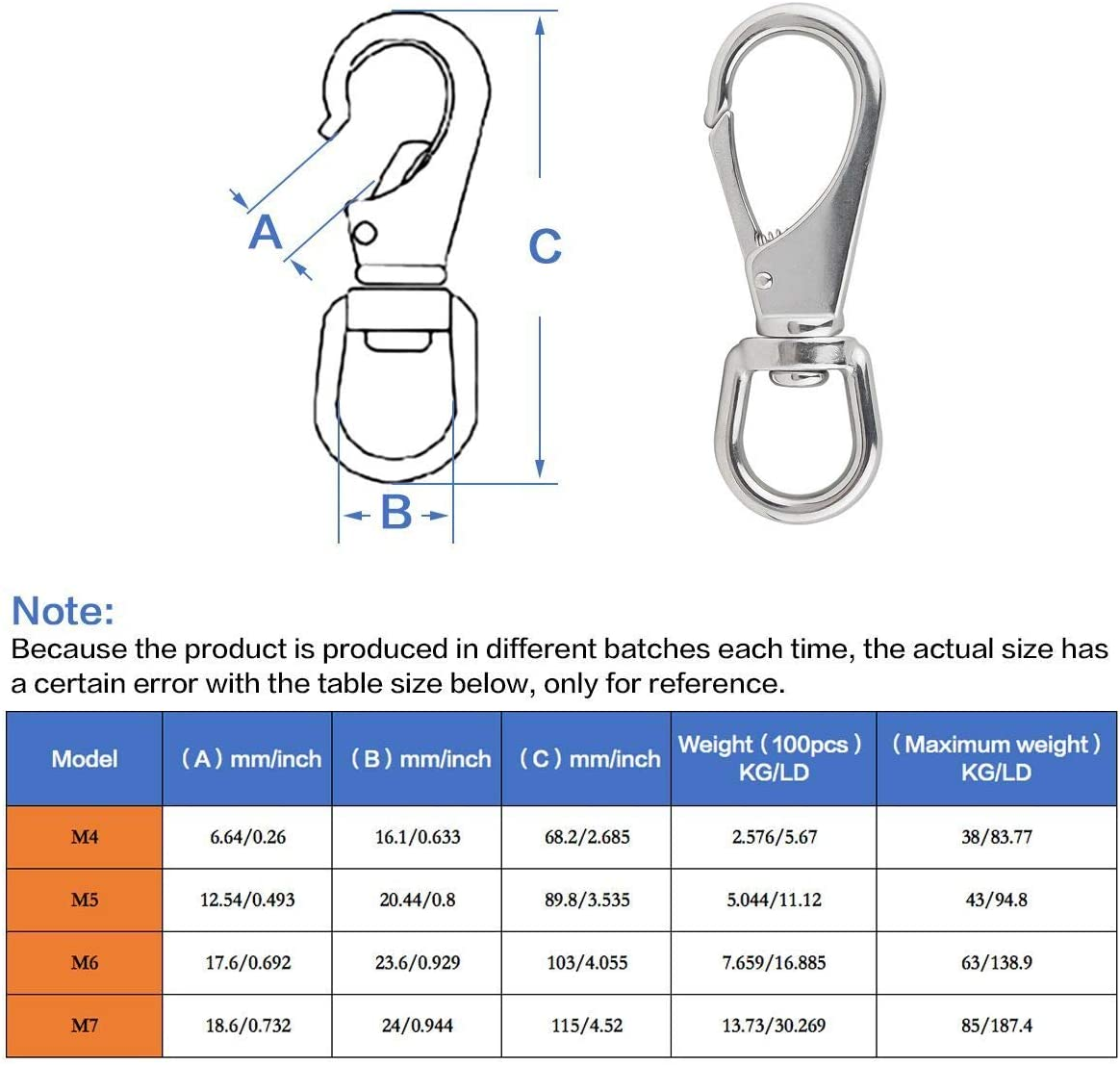 4 x 1-1//2 Inch Scuba Diving Clips Universal Marine Hardware Spring Buckles for Bird Feeders//Pet Chains//Collars//Keychains and More M6 2# BNYZWOT Stainless Steel Swivel Eye Snap Hooks 4-Pack
