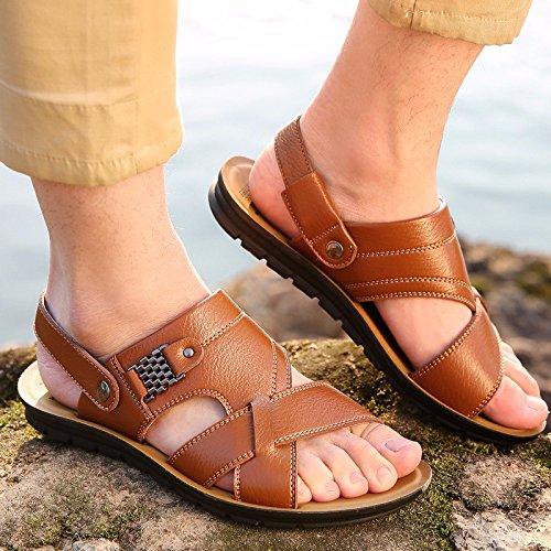Sommer Neues Produkt Männer Sandalen Echtleder Strand Schuh Männer Atmungsaktiv Freizeit Rindsleder Sandalen Sandalen Männer Schuh ,Gelb,US=10,UK=9.5,EU=44,CN=46