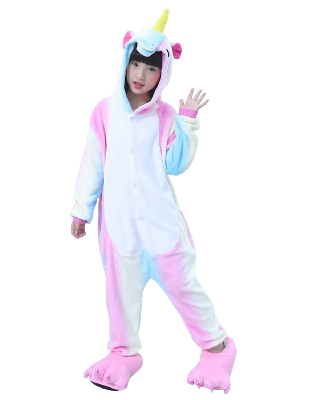 Semia Bambini Unisex Pigiama Caldo Flanella Tuta Animali Cosplay Halloween Natale Partito Costume Kigurumi Bambine Ragazze Pajamas Sleepwear Autunno Inverno