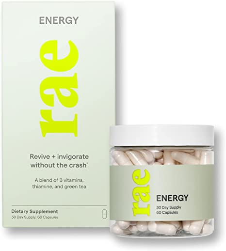 Rae Energy Capsules - Natural Energy Supplement for Women with B12 Vitamin and Green Tea - Vegan Natural Energy Support - Invigoration Without The Crash