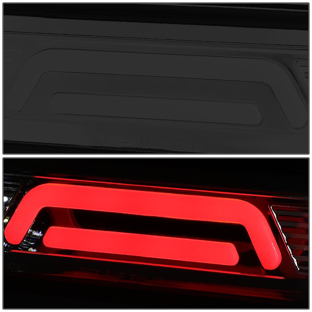 DNA Motoring 3BL-DRM02-3D-LED-SM 3D LED Bar Third Brake//Cargo Light Chrome//Smoked 02-09 Dodge Ram Truck
