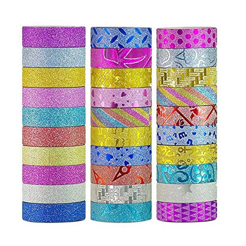 ?Sticky Upgrade?Washi Tape Set of 30 Rolls All Girls Favorite Creative Multi-Purpose Masking Tape Great for Arts Crafts DIY - Multicolour