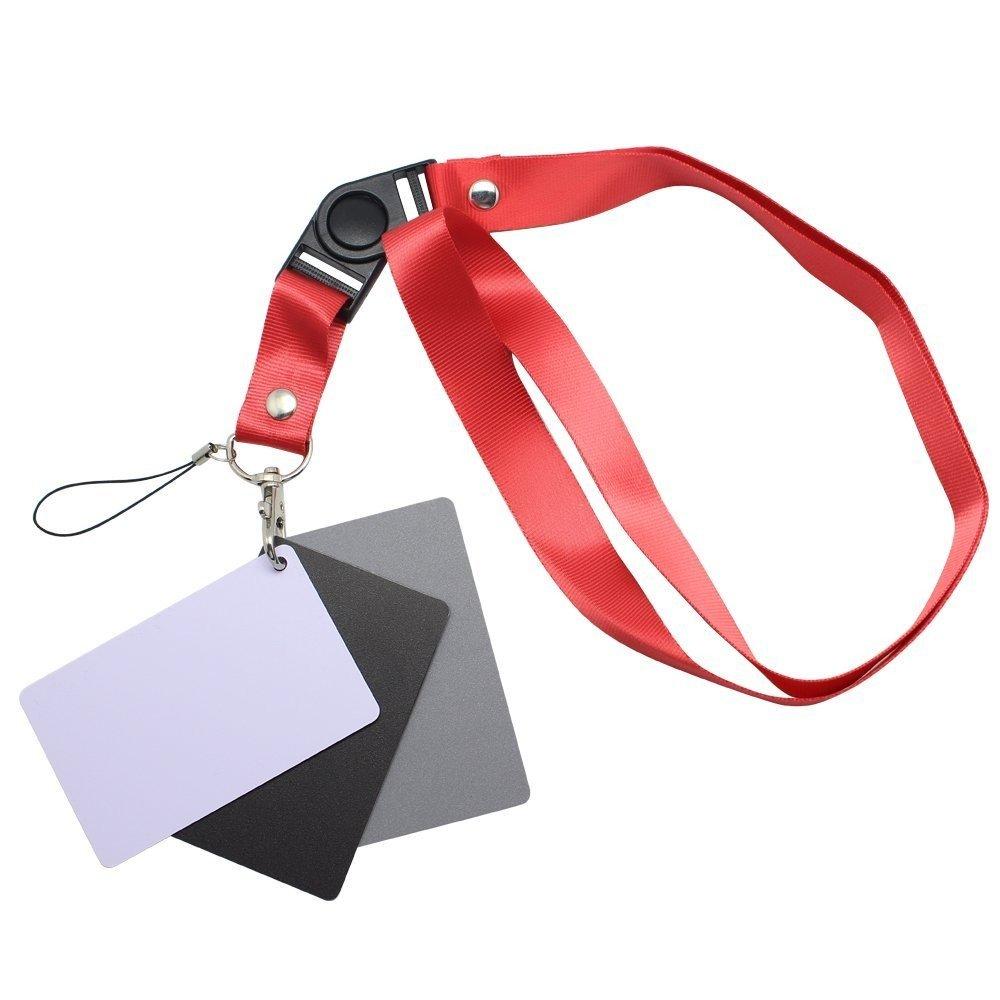 Protastic 3 in Digital 18% grigio/bianco/nero carta set fotografia esposizione bilanciamento + cordino da polso PROtastic.co.uk 1026a