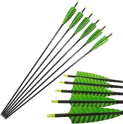 "6//12pcs 34/"" Archery Carbon Arrow SP500 Turkey Natural Feather Recurve BowHunting"