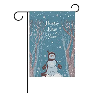 ALAZA Double Sided Happy New Year Snowfall Smiling Snowman in Forest Polyester Garden Flag Banner 12 x 18 Inch for Outdoor Home Garden Flower Pot Decor