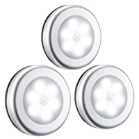 Motion Sensor Light, (Batteries Included, 6 LED,3 Pack ) OMorc Cordless Battery-Powered LED Night Light with 3M Adhesive Pads Compact Closet Light, Stairs Light, Stick-Anywhere Safe Wall Light for Kitchen, Bathroom, Hallway, Bedroom, Garage, Basement - White