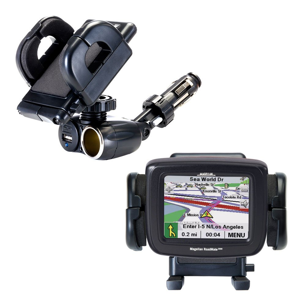 Dual Car Cigarette Lighter Charger Mount and Holder for the Magellan Roadmate 2000 Features 12V Adapter and Charging USB Port