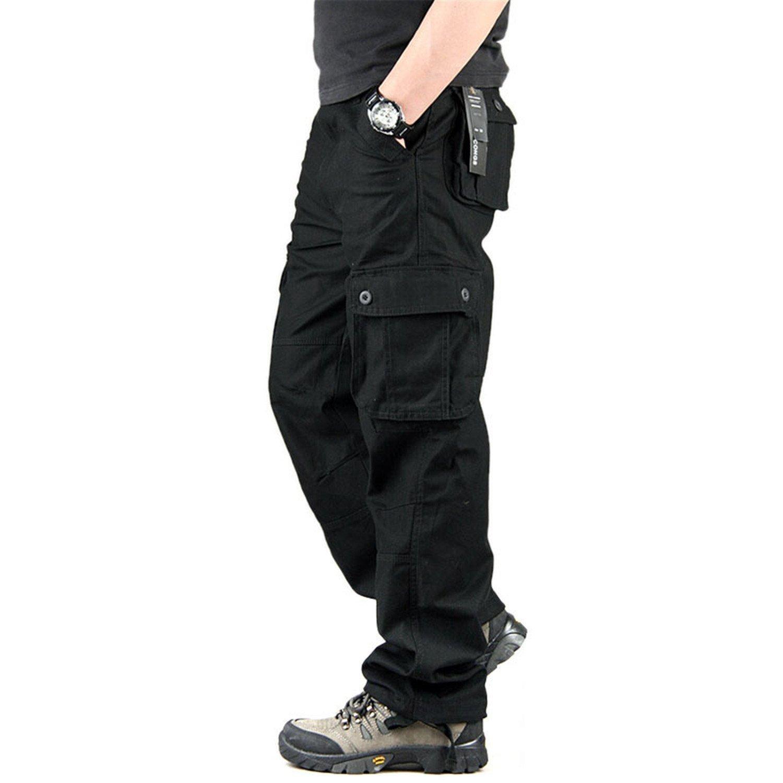 Toping Fine Pants Men's Pants Casual Mens Pant Multi Pocket Military Overall Men Outdoors Long Trousers 30-44 Plus Size Black32