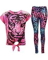 New Girls Tigergesicht Aufdruck Party Fashion Top T Shirt & Leopard Leggings Set 7 8 9 10 Jahre Alt 11 12 13 Jahre