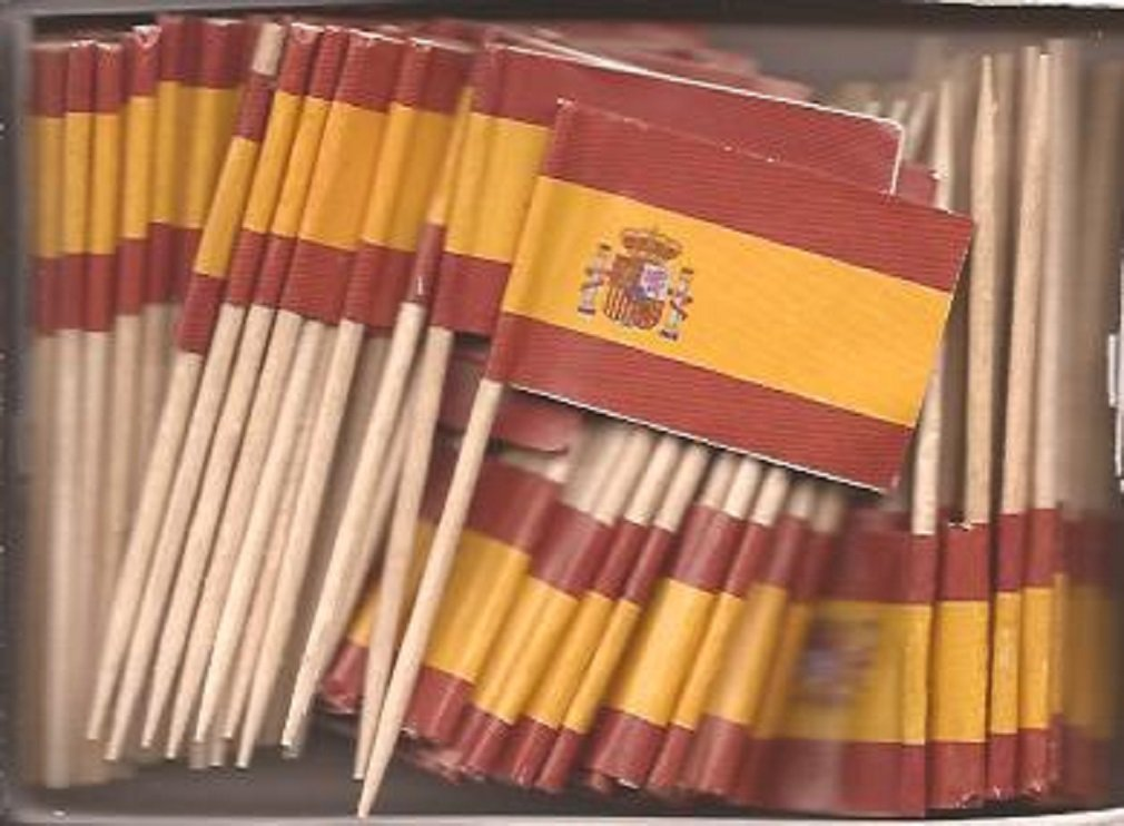 25 Box Wholesale Lot of Spain Toothpick Flags, 2500 Small Spanish Flag Toothpicks or Cocktail Picks
