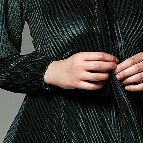 Cintura Lunga Collo Una V Delle Abiti Midi Linea Cocktail Comeon Di Elegante Con Sexy Abito Donne Manica Profondo Color Da Club Velluto Caffè Party yRpwwqFtA8