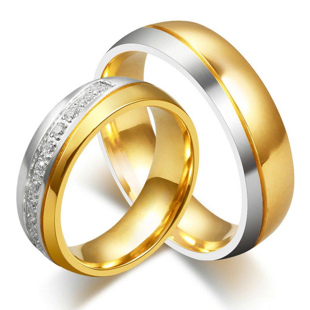 Amazon.com: AnazoZ Jewelry His and Her For Titanium 18K Gold ...