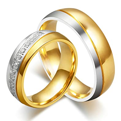 AnazoZ Jewelry His and Her For Titanium 18K Gold Plated Wedding
